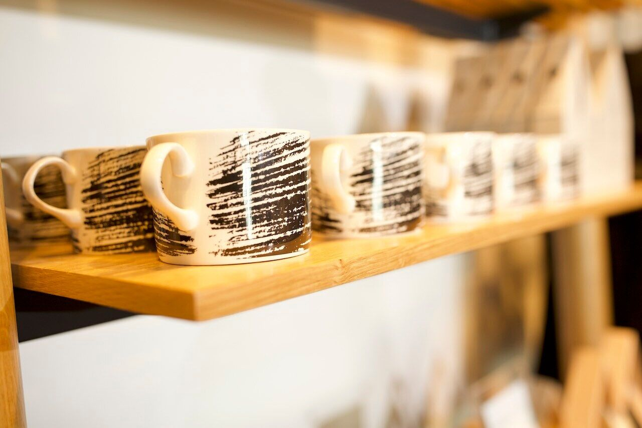 A row of mugs from the Sketch range