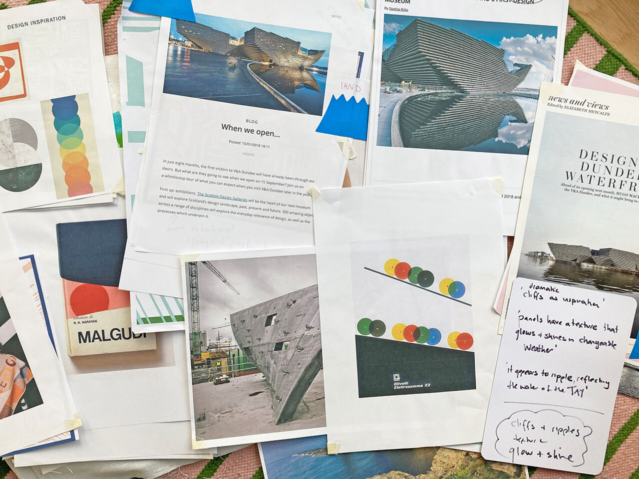 A spread of research and papers with photos of the museum and different colour ways and ideas.