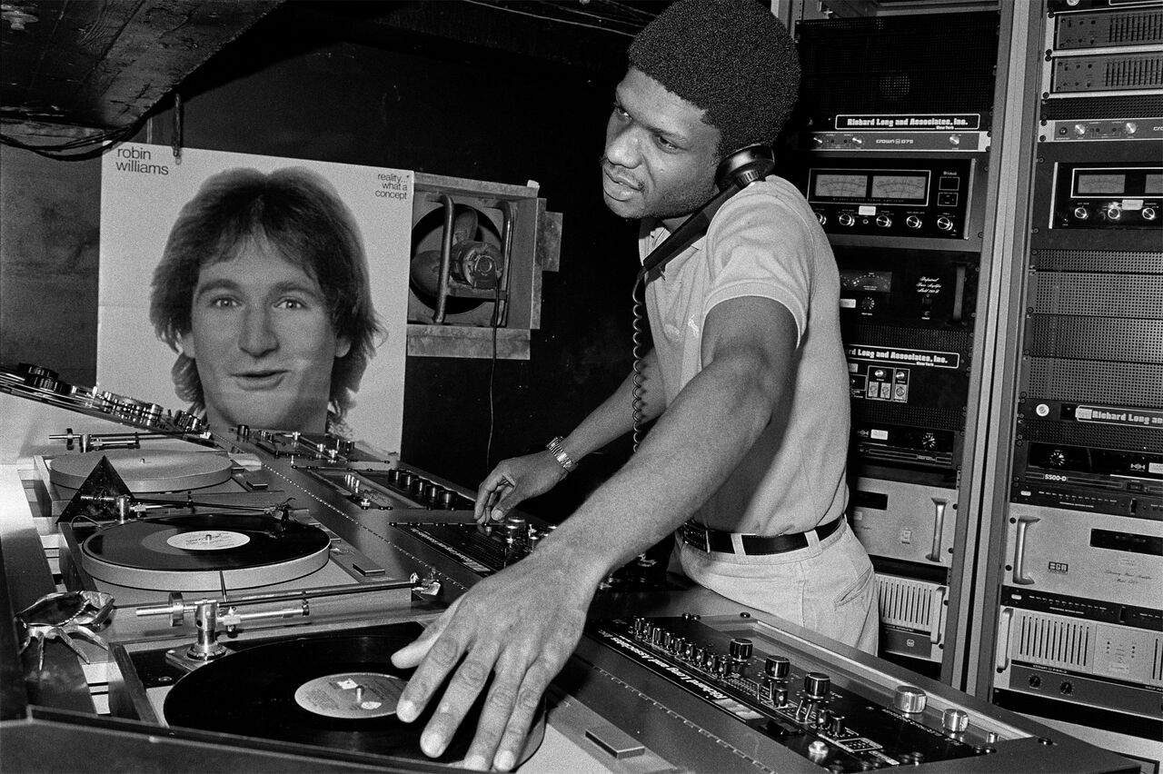 Black and white image of DJ Larry Levan in Paradise Garage, New York, 1979.