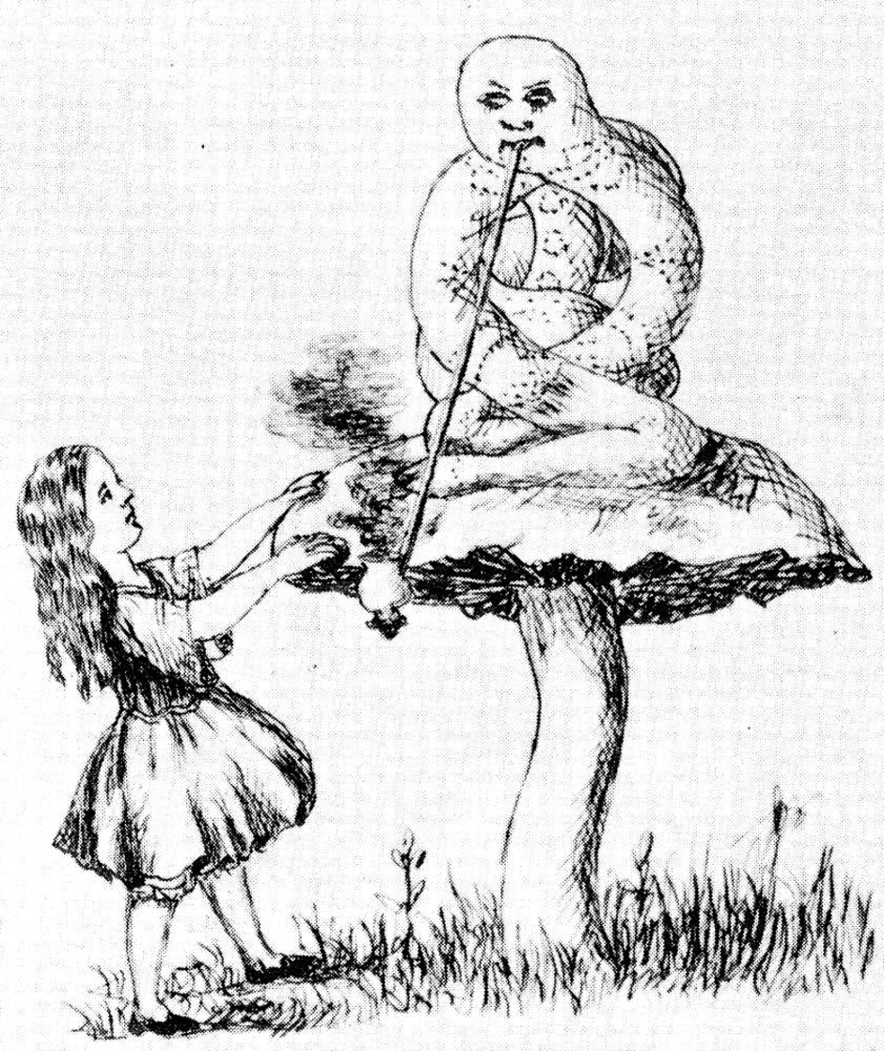 Line sketch of Alice with the Caterpillar on a toadstool smoking a hookah pipe.