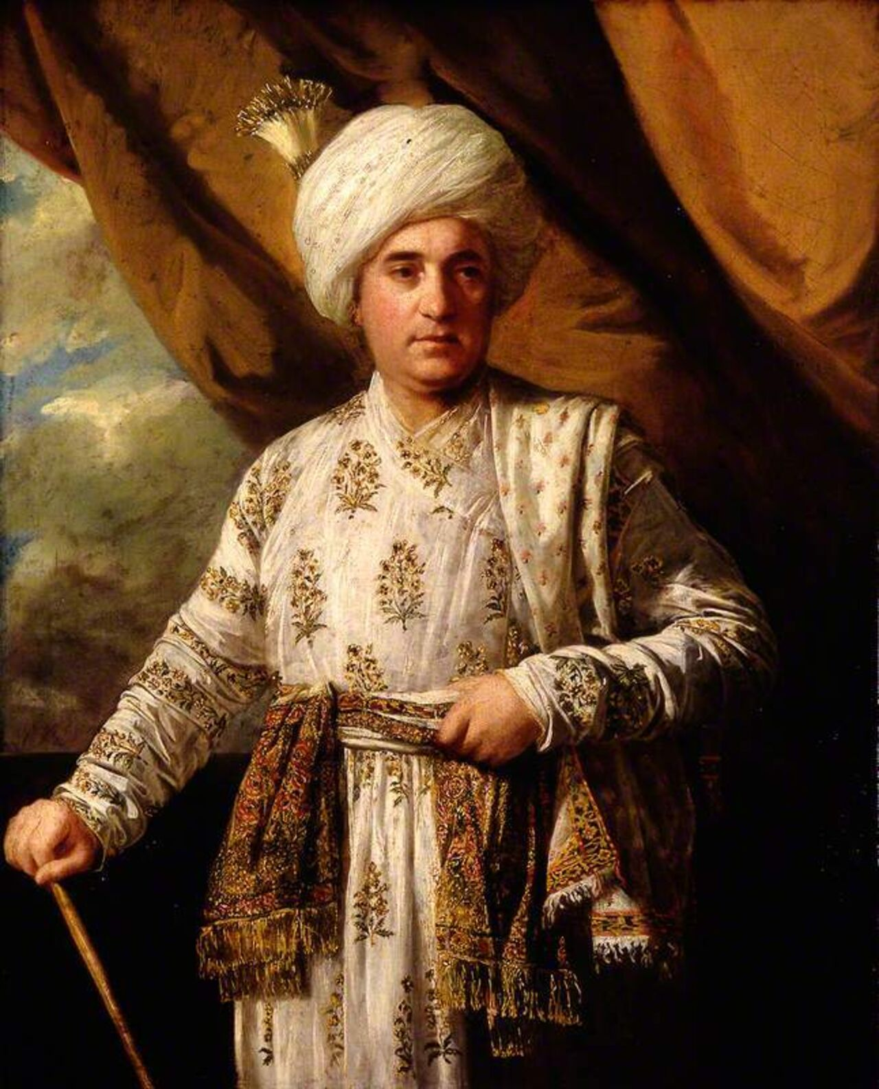 Painting of a man in Indian dress.