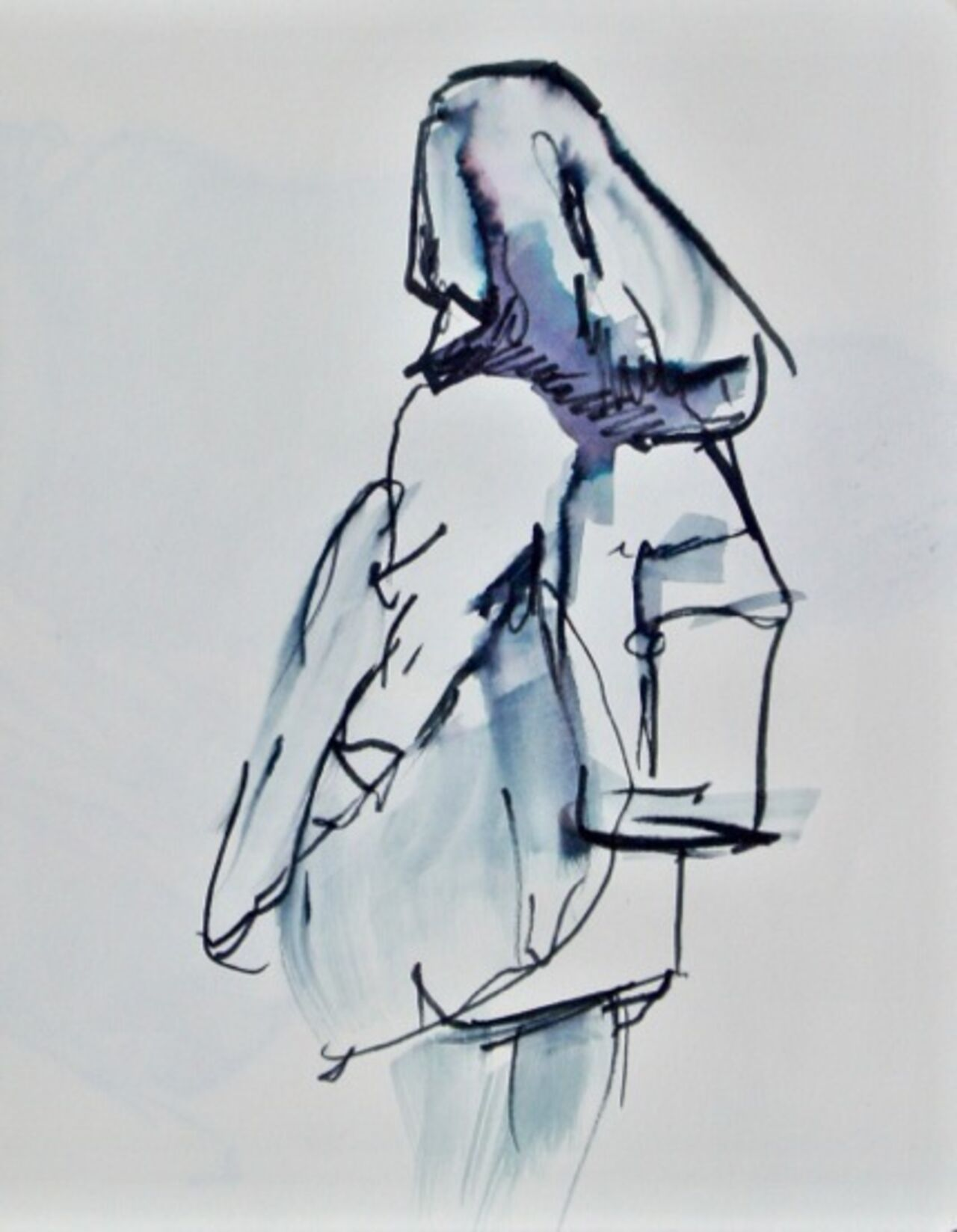 A sketch of someone standing, seen from behind, wearing a rucksack.