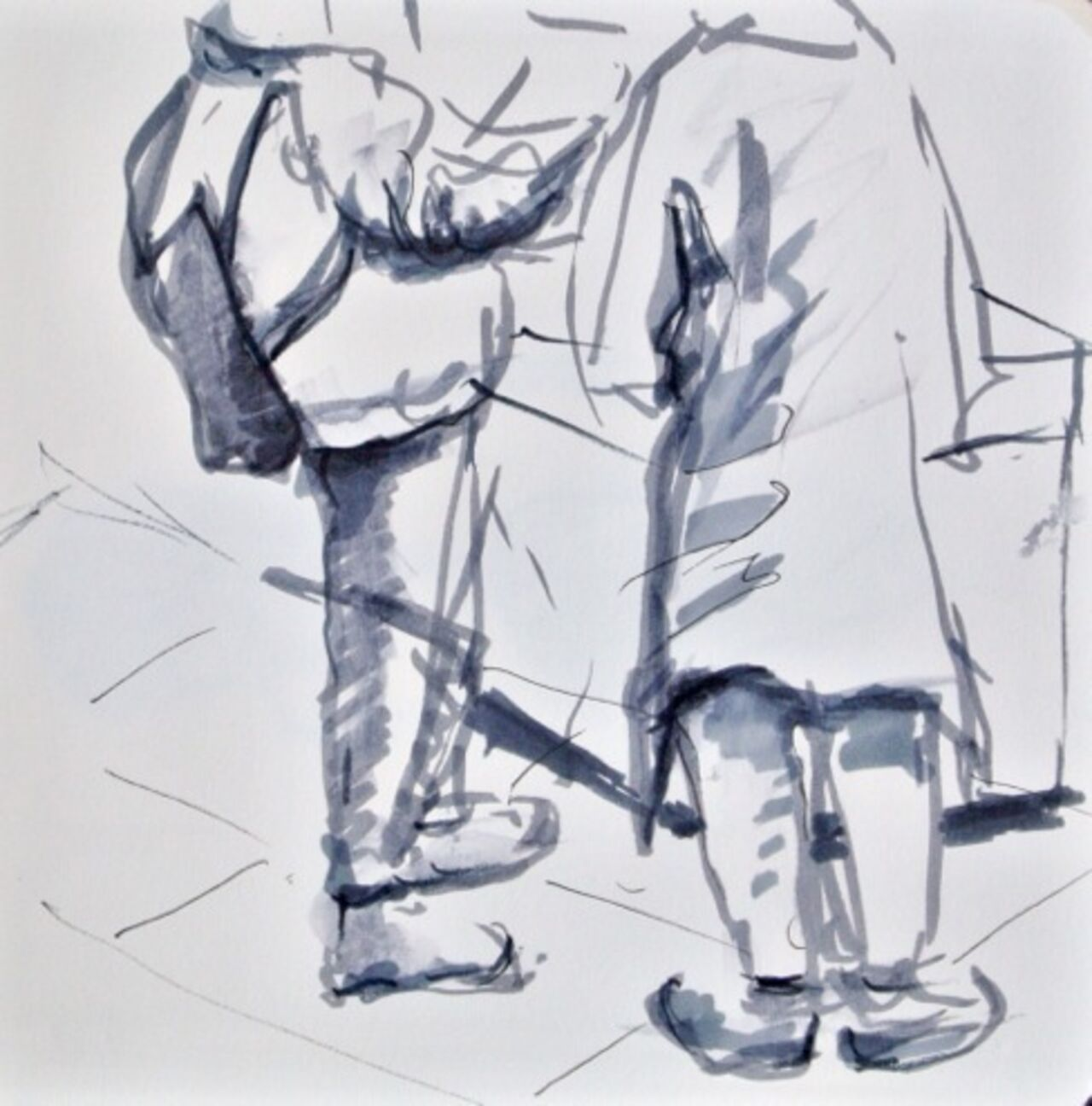 A grey sketch of two people walking side by side.