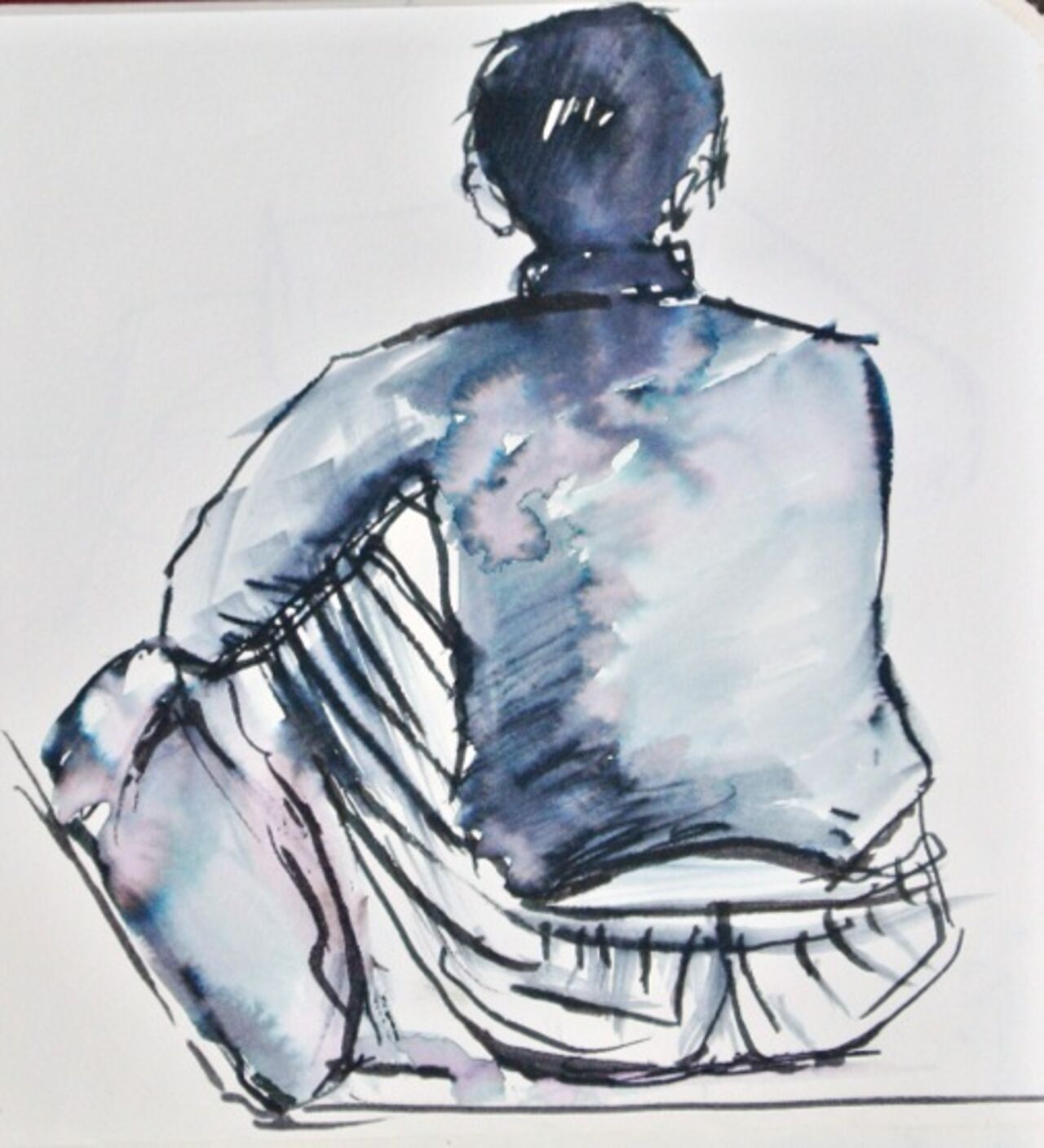 A blue sketch of a person sat down, seen from behind.