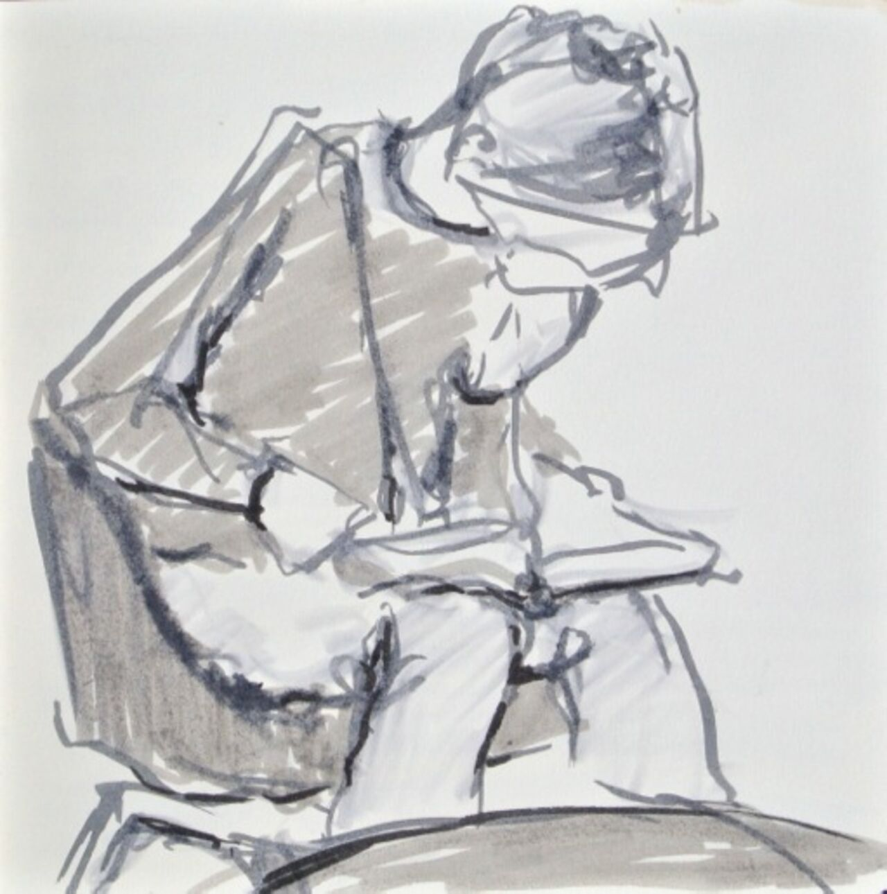 A grey sketch of a person sat down looking at something in their hands.