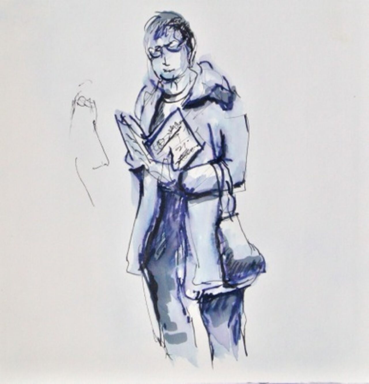 A blue sketch of a person looking at a leaflet.