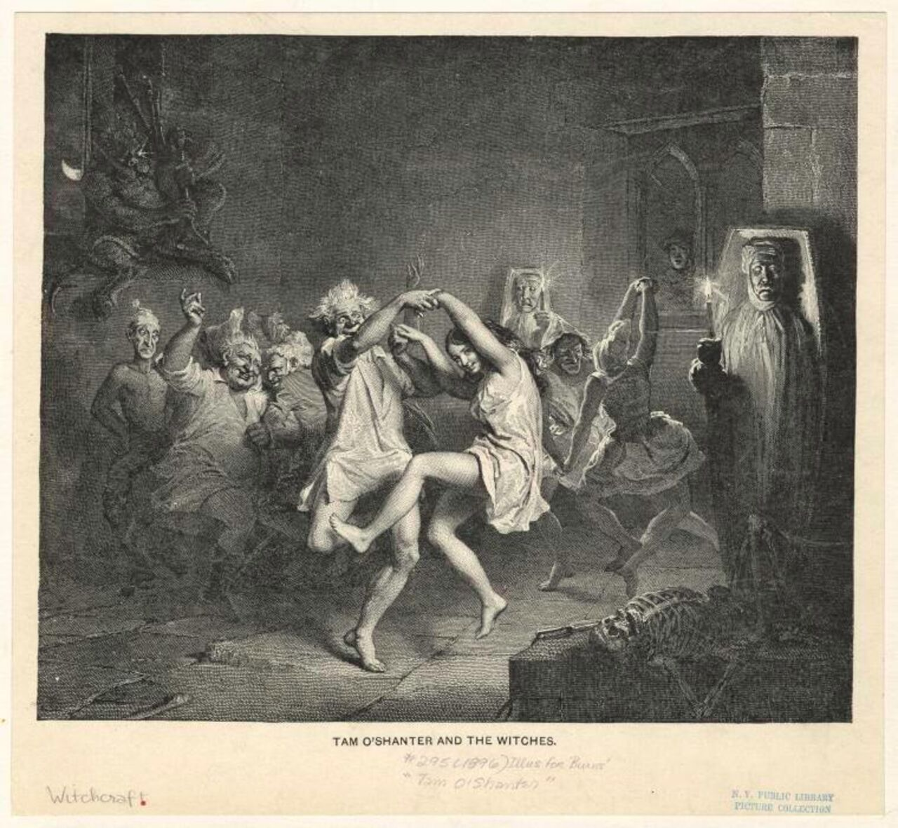 Black and white etching of a group of people dancing menacingly by candlelight.