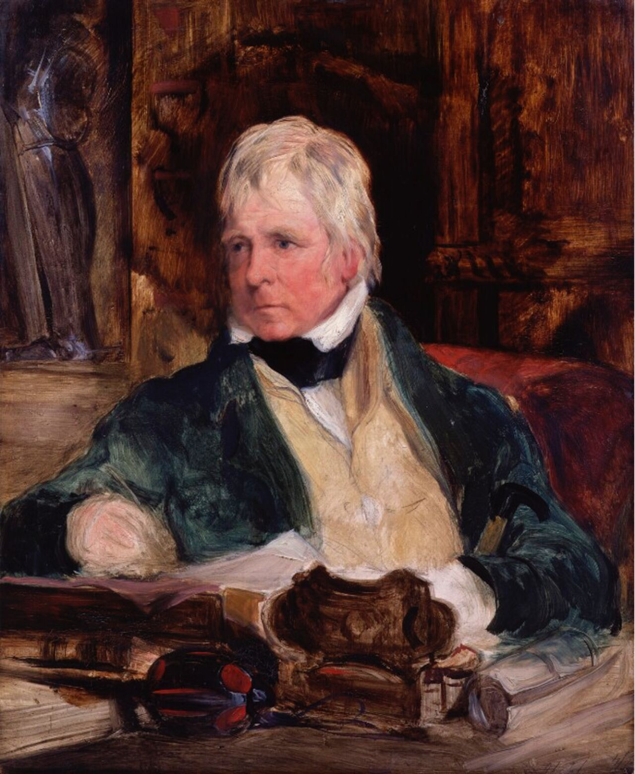 Painting of a white man sat at a desk.