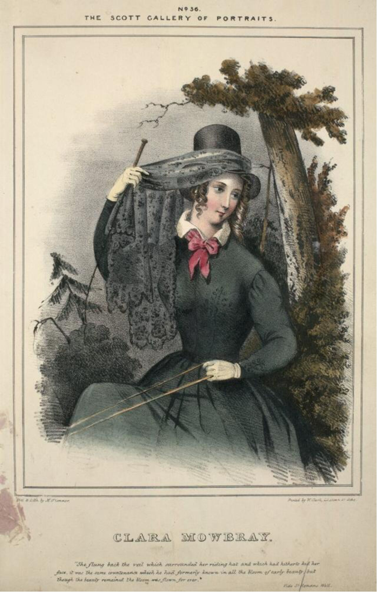 Colour lithograph showing a lady in all black sitting by a tree.