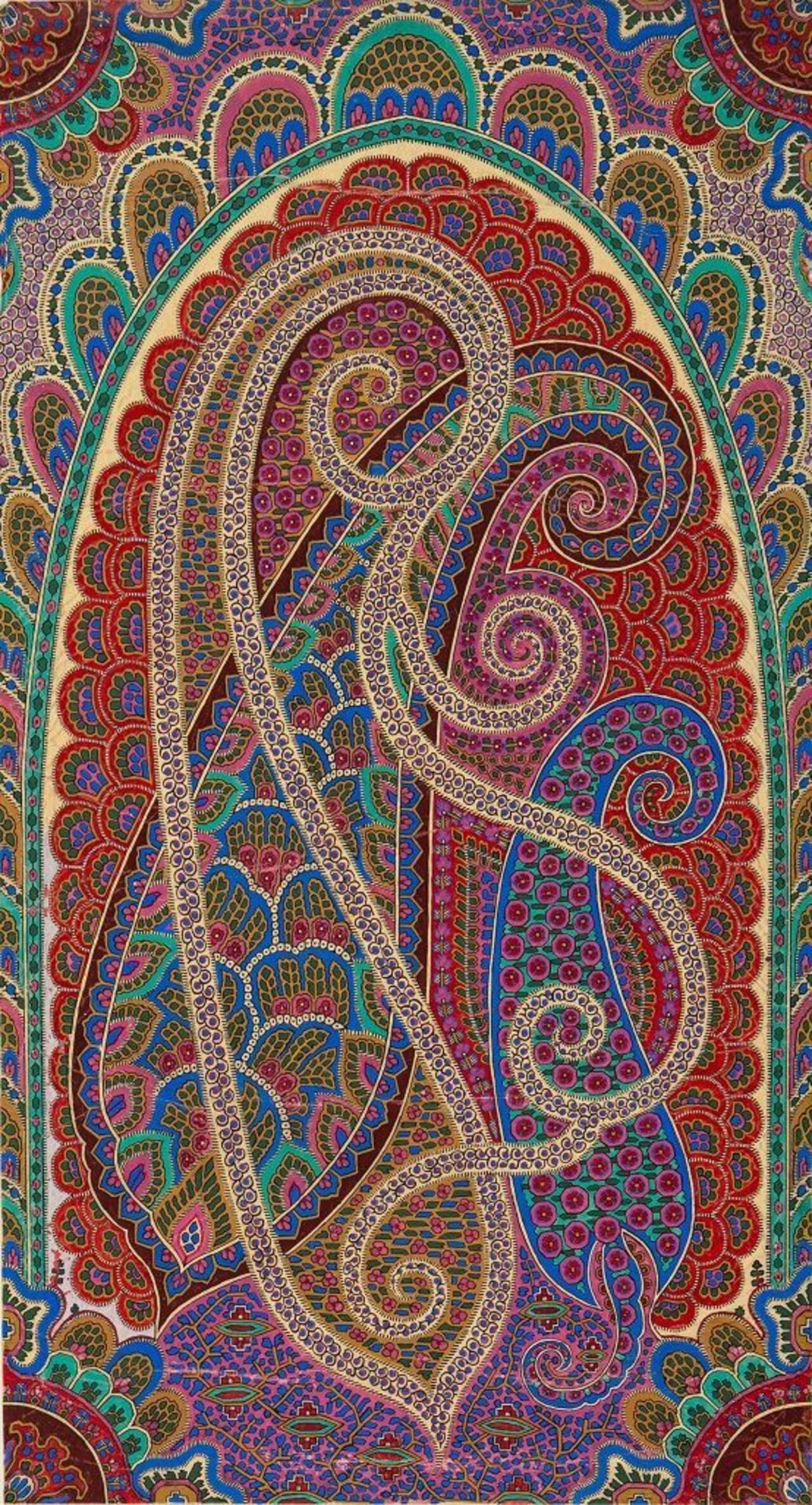 A close up sketch of a Paisley design.
