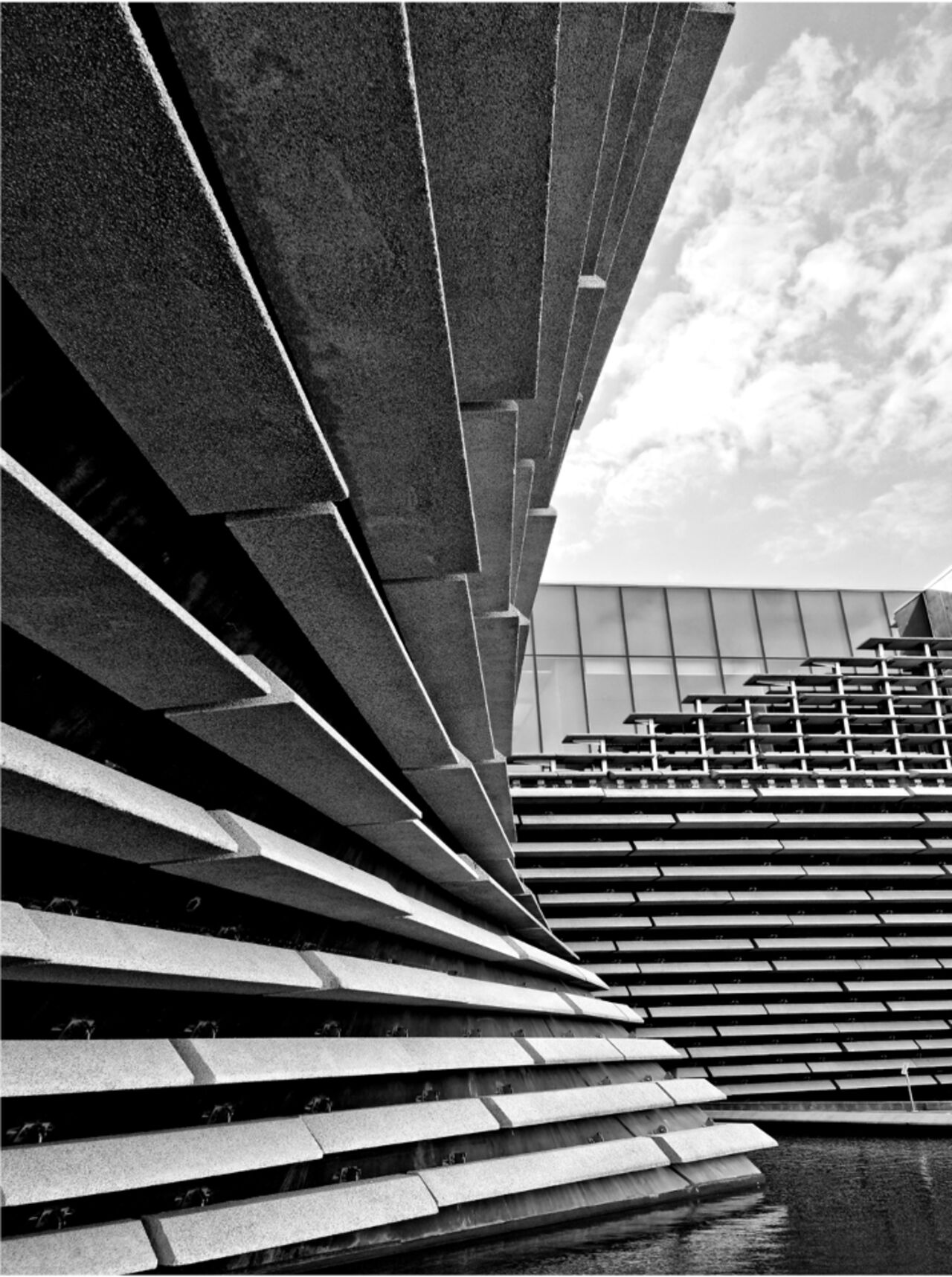 A black and white image of V&A Dundee.