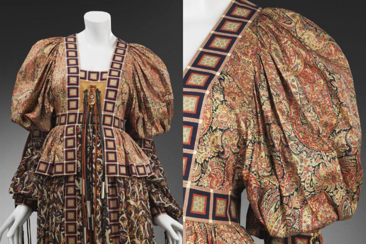 Close-up details showing the patterns of Bill Gibb's Tana dress