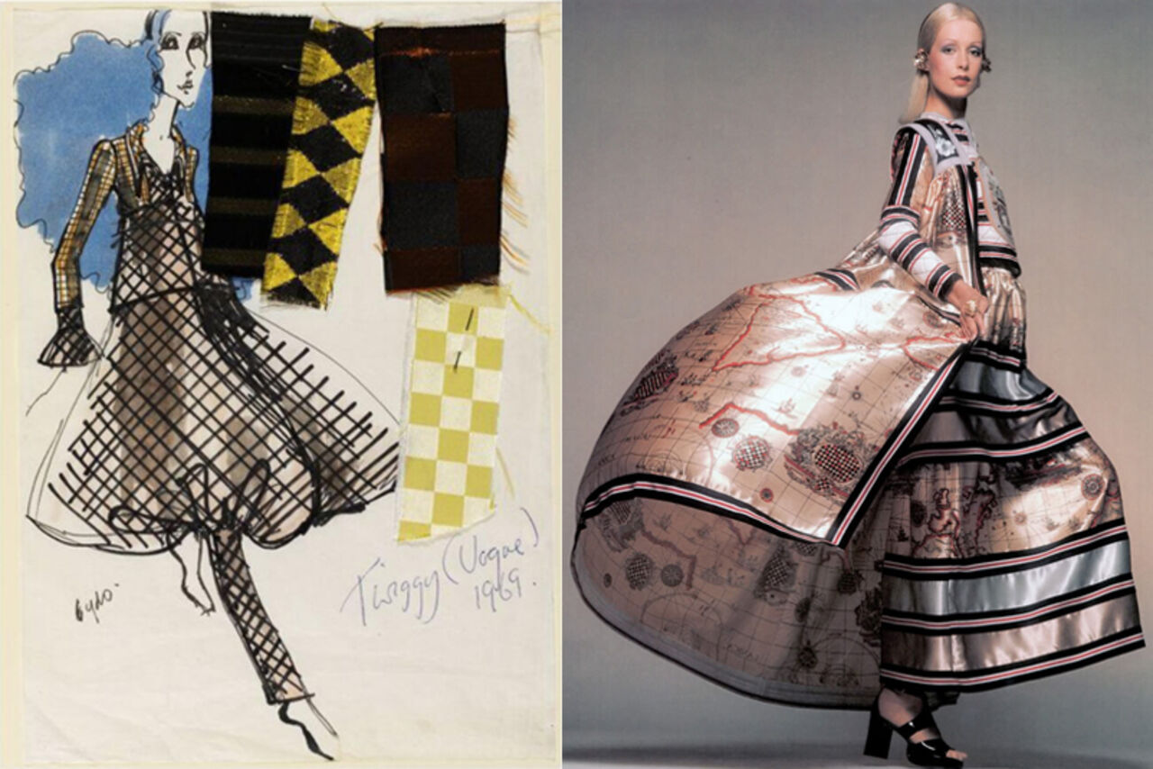 A fashion illustration and image of a model wearing a large, billowing 1970s dress