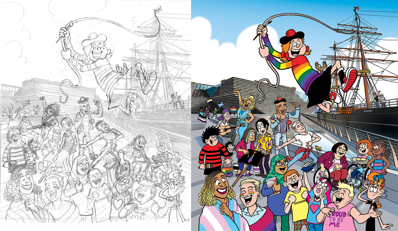 A pencil sketch and colour illustration showing Minnie the Minx and a host of characters celebrating outside the Discovery ship and the V&A Dundee building