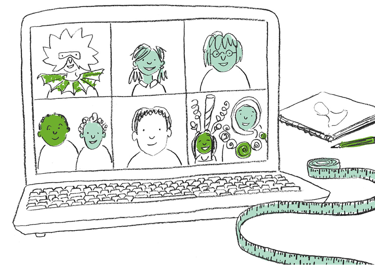 An illustration from the Design Busters book, featuring a pencil sketch of people on a computer screen