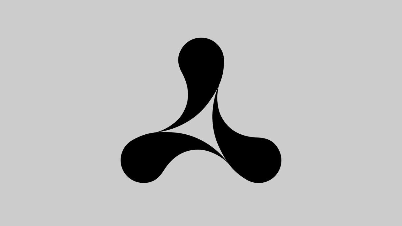 Three-curved black Cream logo on a grey background.