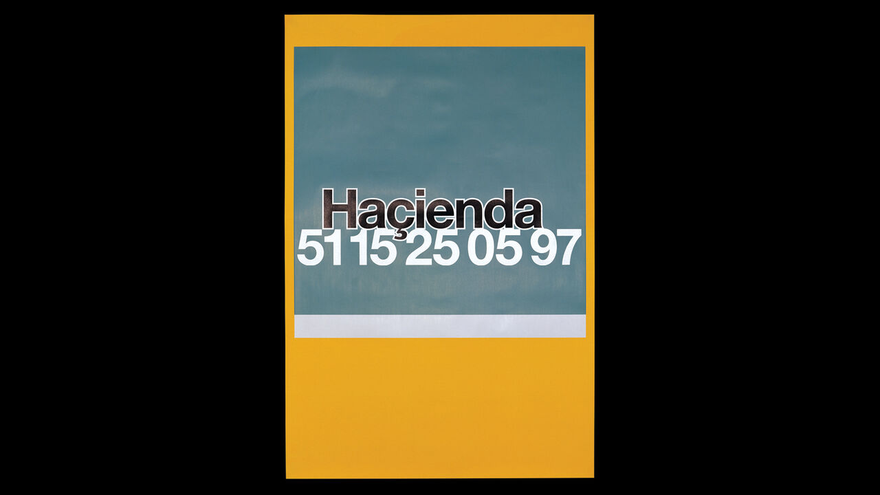Orange and grey Hacienda poster on a black background