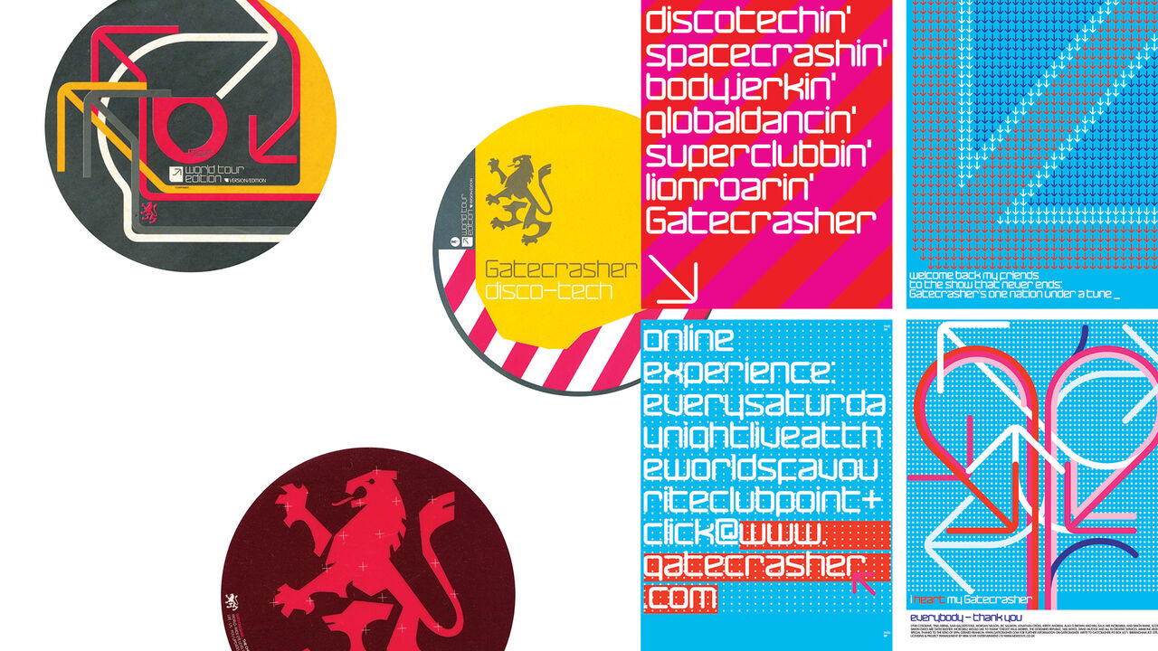Badges and flyer designs for Gatecrasher featuring arrows, typography and rampant lions.