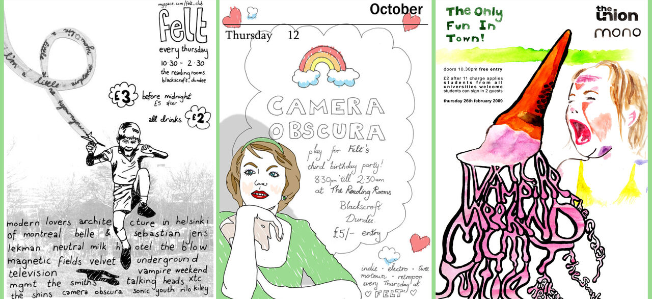 Flyers featuring line drawings and watercolours of a boy, a woman and a child with an ice-cram