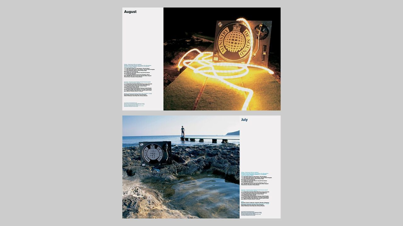 Two photographs showing the Ministry of Sound logo printed on deck slipmats and set in landscapes