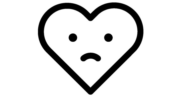 a white outlined heart with an emoji-style sad face in the middle, white on yellow