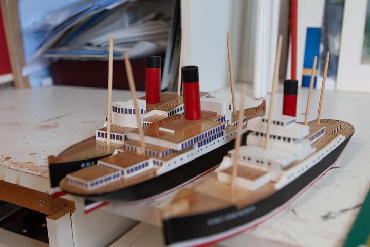 hand-made ocean liner models