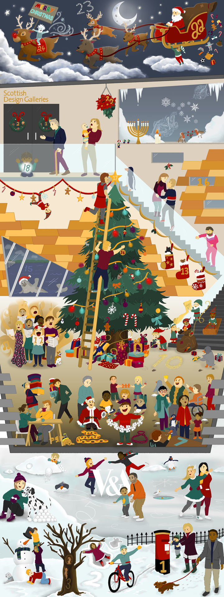 A fully coloured illustration of the finished the VADvent piece featuring V&A Dundee in a cutaway style with both inside and outside festive scenes. The image is very much higher than it is wide.