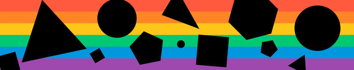 Rainbow with black shapes over the top.