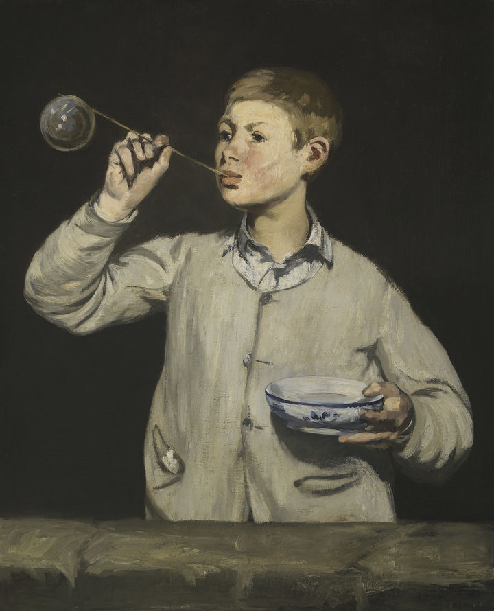 Painting of a boy blowing a bubble against a black background.