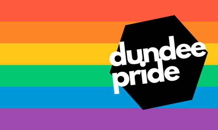"The words ""Dundee Pride"" written in white across a black hexagon, itself against the rainbow."