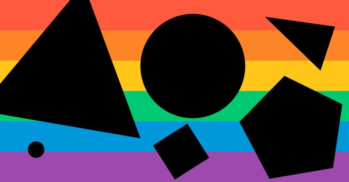Pride rainbow with different-sized black shapes over the top, like triangles, squares and circles.