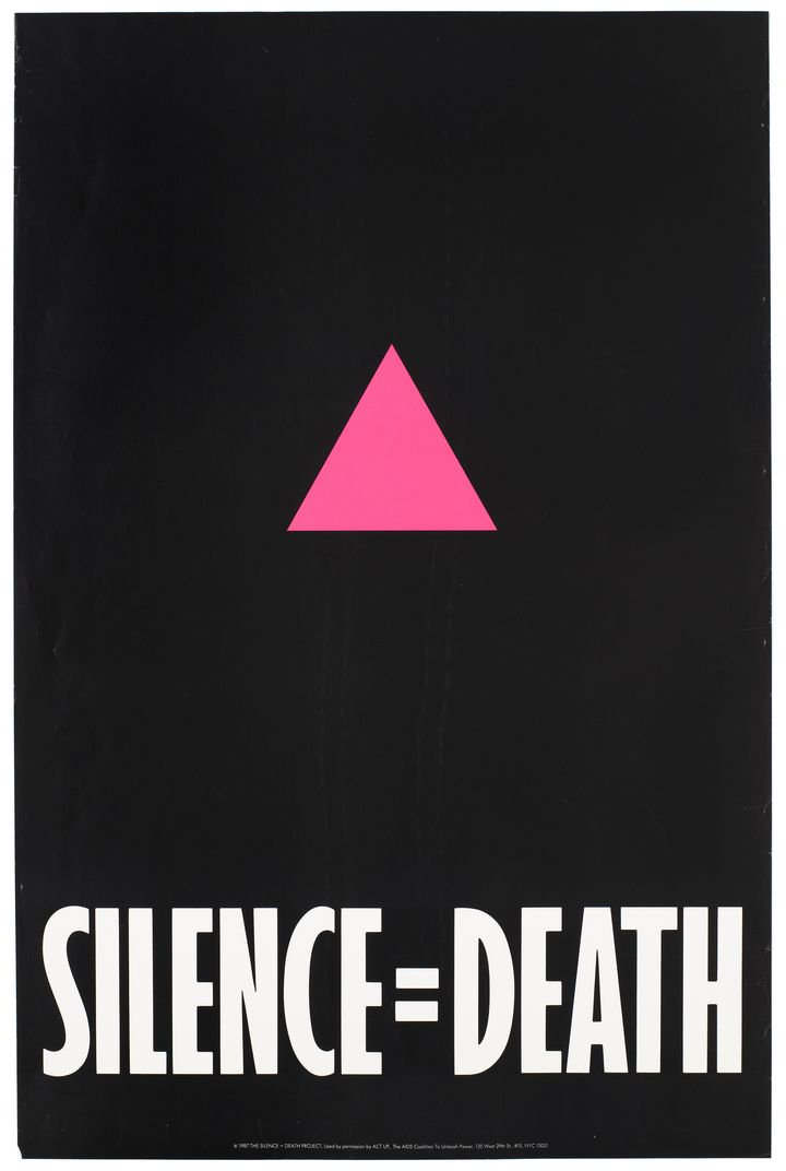 A pink triangle against a black backdrop with the words 'Silence=Death' representing an advertisement for the Silence=Death Project used by permission by ACT-UP, The AIDS Coalition To Unleash Power. Colour lithograph, 1987.