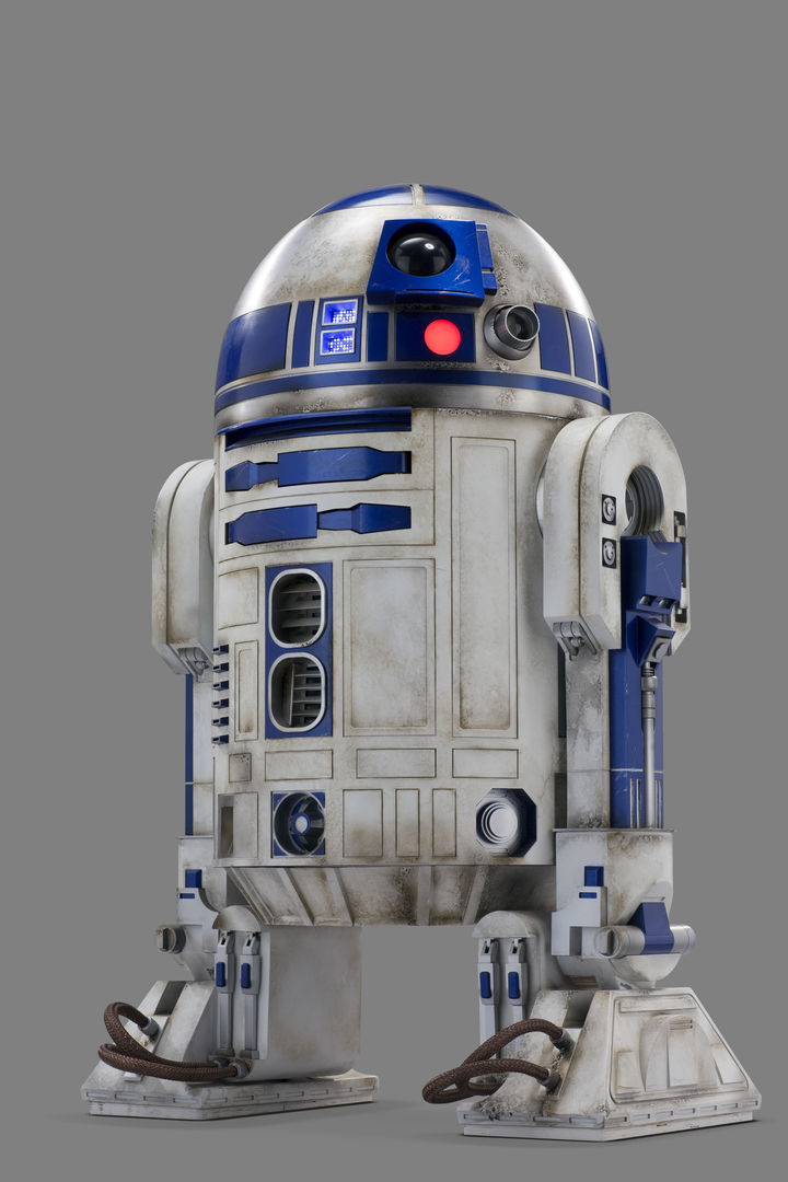 The droid R2-D2 against a grey background.