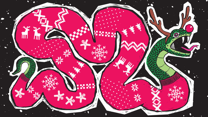 Illustration showing a snake, wearing a red Christmas jumper, a festive antler and ears headwear and a red Rudolph nose.