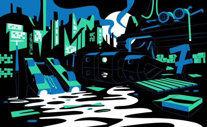 Beautiful graphic illustration of a post-apocalyptic cityscape, partially underwater. The illustration is black, white, green and blue.
