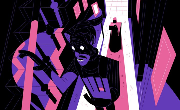 Graphic illustration in black, white, pink and purple depicting a stylised view of an intruder in the house next to the staircase with Mr Fuzz, the robot dog, standing behind him in a doorway. The intruder is alarmed and has his arms up, unaware the gruff voice is coming from a wee robot dog.