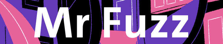 "A colourful abstract banner with the words ""Mr Fuzz"" in white over the top to introduce the story."