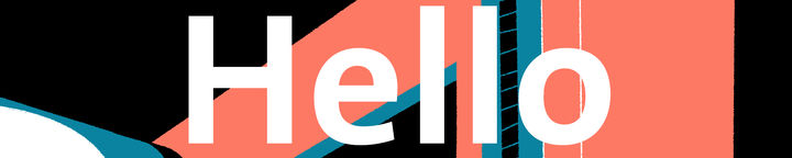 "Colourful abstract shapes with the text ""Hello"" in white over the top."