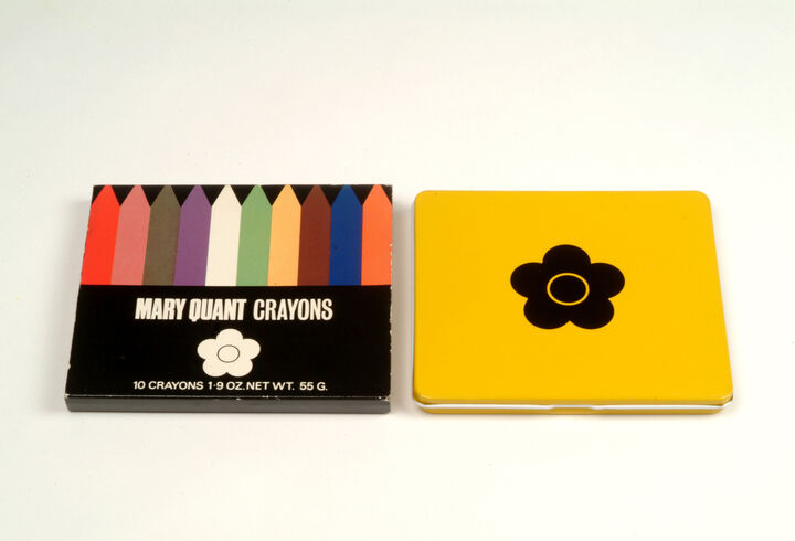A box of Mary Quant crayons with cool sixties design on the packaging including Quant's signature daisy.