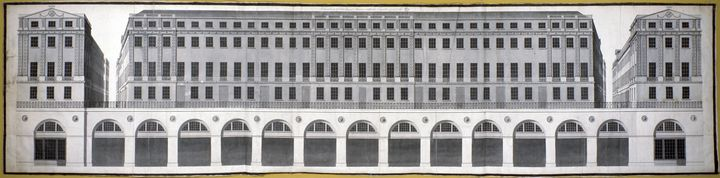 Technical drawing of the Adelphi with loads of windows and arches and balcony details.