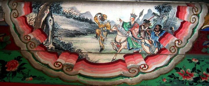A brightly coloured Chinese painting depicting fantasy figures walking in a line.