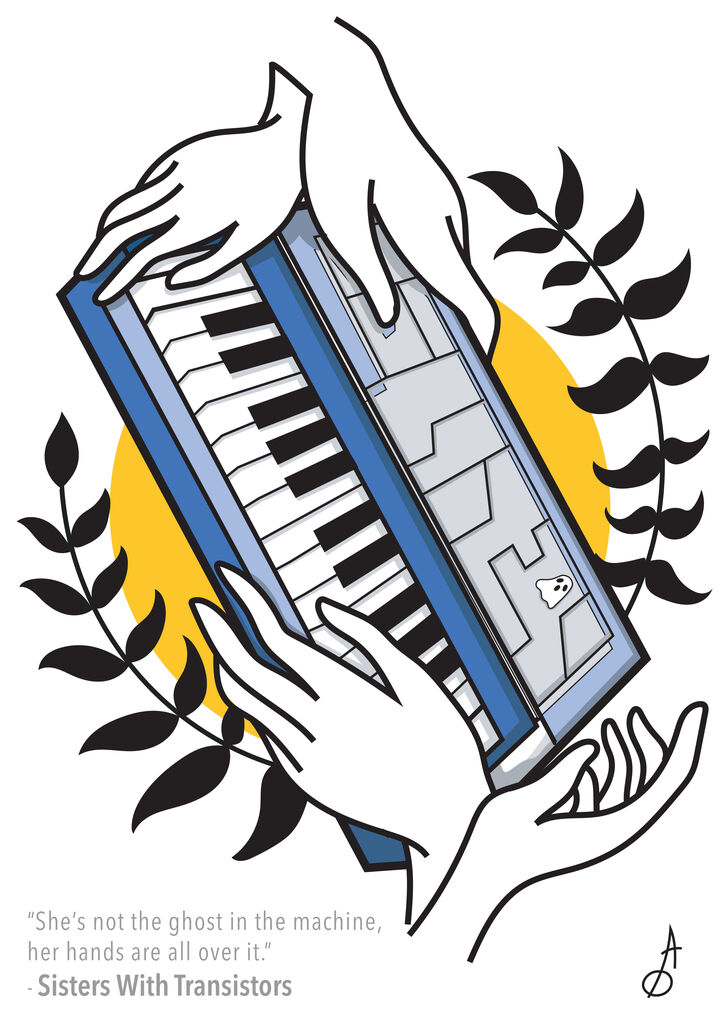 Illustration of keyboards and hands