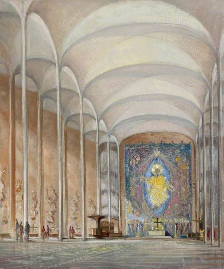 An oil on canvas with graphite underdrawing image of the interior of Coventry Cathedral showing the main body of the b uilding looking down toward the altar.