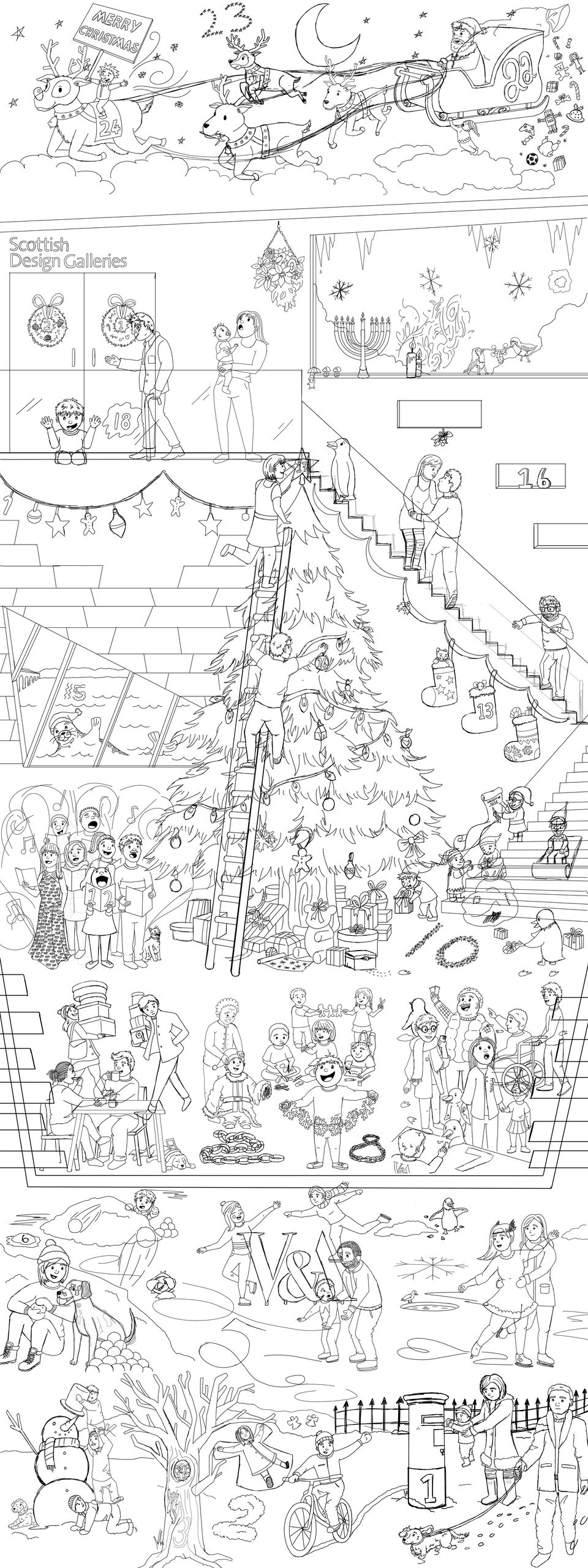 A black and white line illustration of the finished the VADvent piece featuring V&A Dundee in a cutaway style with both inside and outside festive scenes. The image is very much higher than it is wide.