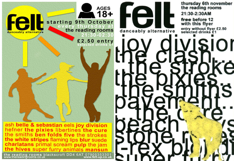 Club flyers for Felt showing lists of band names and dancing cut-out felt characters