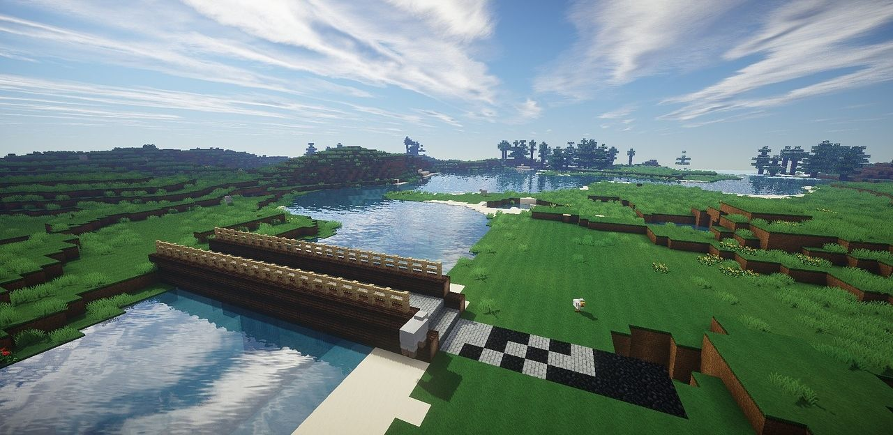 A landscape made in Minecraft.