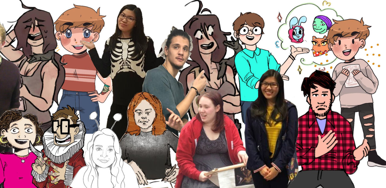 collage of different students, either photos of them or their own cartoon versions of themselves.