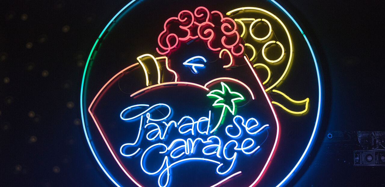 The neon sign from Paradise Garage club in the Night Fever exhibition