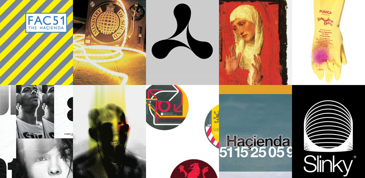 A montage of club graphic designs, with Hacienda, Ministry of Sound, Gatecrasher and Cream logos