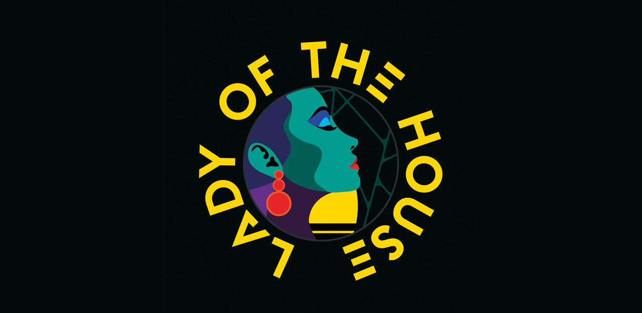 Graphic design image of a woman in profile as part of the Lady of the House logo